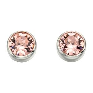 68836 - Pink Sapphire coloured crystal Stud Earrings in Sterling Silver