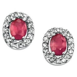 68096 - Ruby & Diamond Stud Earrings in 9ct Gold