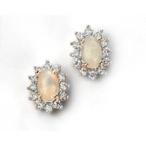 68800 - Opal & Diamond Stud Earrings in 9ct Gold