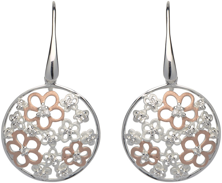68829 - Silver & Rose gold plated flower Disc Drop Earrings in Sterling Silver