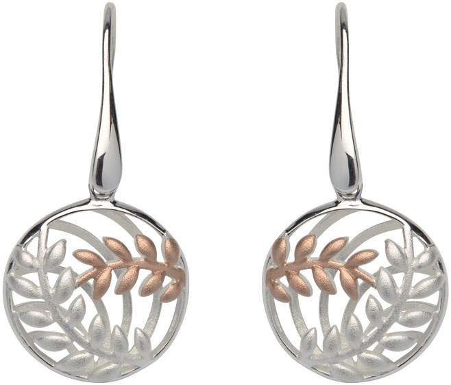 68846 - Circular Fern Drop Earrings in Sterling Silver