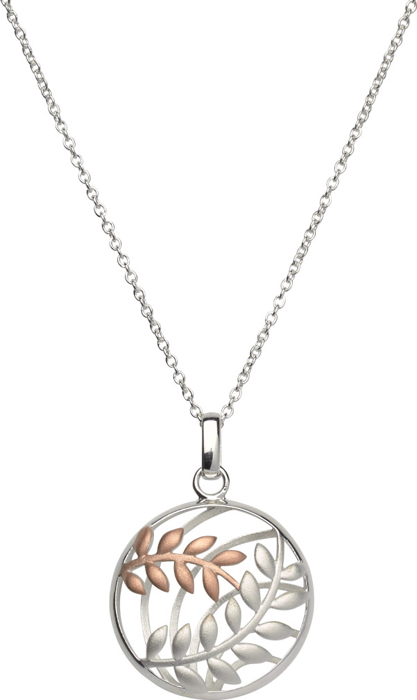 68822 - Silver & Rose gold plated leaf Disc pendant & chain in Sterling Silver