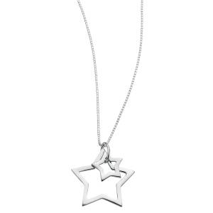 68777 - Double star pendant in Sterling Silver