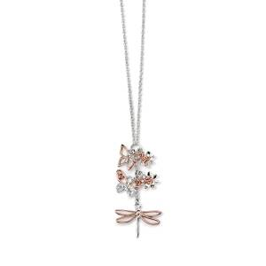 68772 - Rose gold plated Butterfly Dragonfly pendant in Sterling Silver