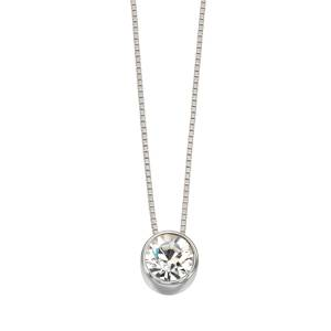 68838 - CZ set slider pendant & chain in Sterling Silver
