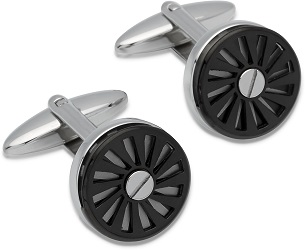 69529 - Stainless Steel cufflinks featuring spinning car wheel with Black ion plating
