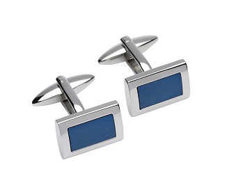 69528 -  Stainless Steel cufflinks with Blue ion plating