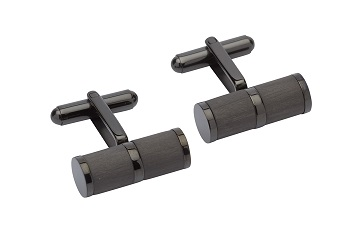 69537 - Stainless Steel cufflink with carbon fibre & Black ion plating