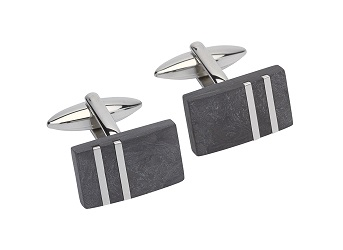 69530 -  Stainless Steel cufflink with carbon composite insert