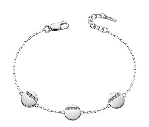 69441 - Disc bracelet in silver set with CZ