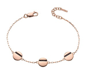 69442 - Disc bracelet in silver rose gold plated & set with black CZ