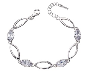 69444 - Clear marquise shaped stones set in silver as a bracelet