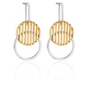 69446 -  Silver Yellow Gold Plated Disc Drop Earrings