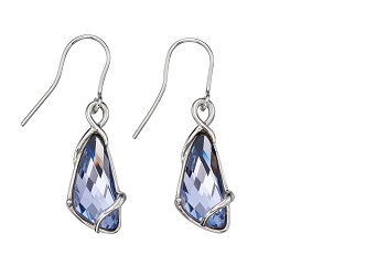 69448 - Silver Lavender Crystal Drop Earrings