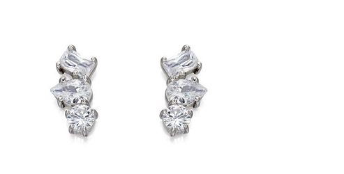 69451 - White CZ cluster stud earrings in silver