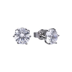 69478 - 3.0ct diamonfire Cubic Zirconia Solitaire stud earrings in silver
