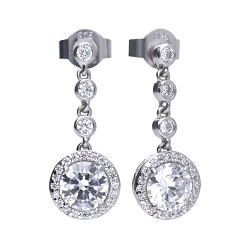 69480 - DiamondFire Cubic Zirconia set silver drop earrings