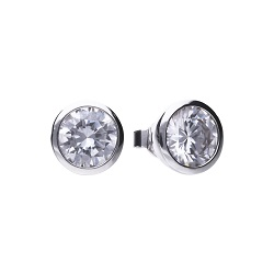 69483 - 4.0ct DiamondFire Cubic Zirconia Solitaire stud earrings in silver