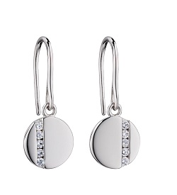 69453 - Silver Disc drop earrings featuring  clear CZ highlights