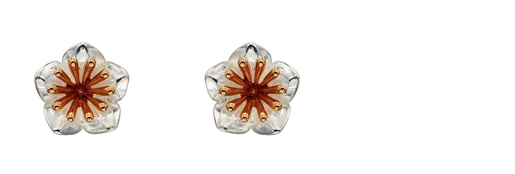 69456 - Floral stud earrings with rose gold plated stamens