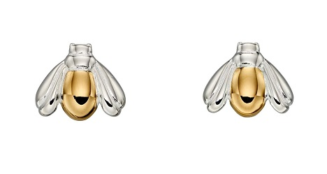 69458 - Silver Bee stud earrings with yellow gold highlights