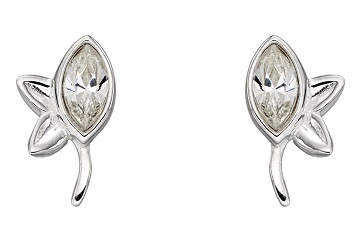 69459 - White crystal leaf stud earrings in silver