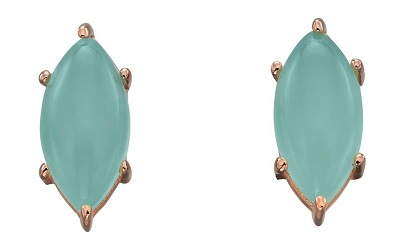 69552 - Marquise shaped Aqua Chalcedony stud earrings in rose gold plated silver