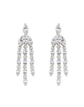 69566 - Cubic Zirconia Marquise shaped silver drop earrings