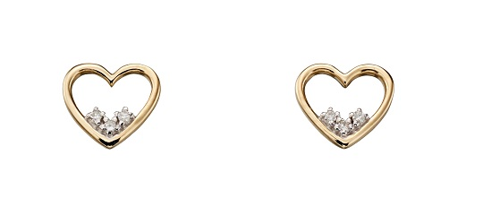 69497 - Diamond set open Heart stud earrings in 9ct Yellow gold