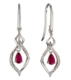 69499 - Ruby & Diamond Drop Earrings in 9ct white gold