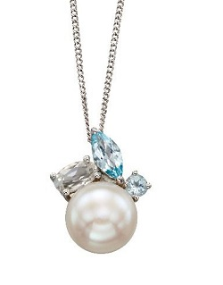 69344 - 9ct White Gold Blue Topaz & Pearl Pendant