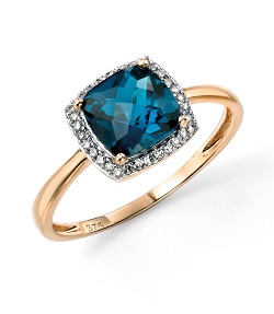 69510 - 9ct Diamond & Blue Topaz Ring