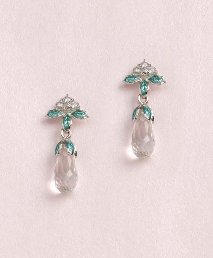 65238 - Diamond & Rock Crystal Green enamel drop Earrings