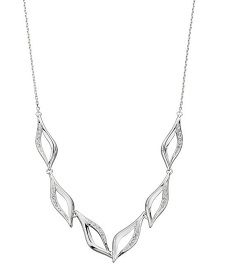 69465 - Silver Marquise shaped necklace pave set with CZ