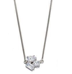 69467 - Silver necklace featuring vari-shaped facetted CZ