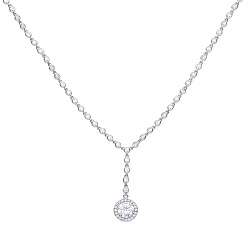 69484 - Silver Y shaped choker set with diamonfire CZ
