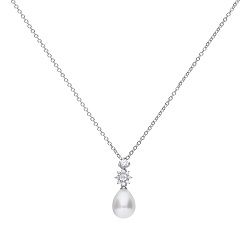69605 - Silver Pear shaped Pendant featuring Pearl & diamonfire CZ with chain