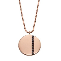 69470 - Rose gold plated silver disc necklace set with black CZ