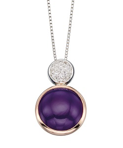 69475 - Purple agate & CZ pendant & chain