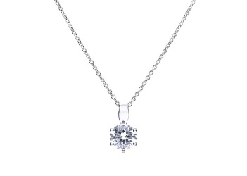 69486 - Silver diamonfire CZ 1.5ct Claw set Solitaire Pendant & Chain