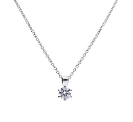 69487 - Silver diamonfire CZ 0.75ct Claw set Solitaire Pendant & Chain