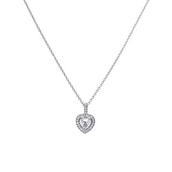 69488 - Silver diamonfire CZ Heart shaped Pave set Pendant & Chain