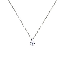 69608 - Silver diamonfire CZ 0.5ct Rubover set Solitaire Pendant & Chain