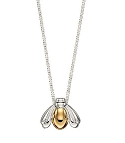69516 - Yellow Gold plated silver Bee Pendant & chain