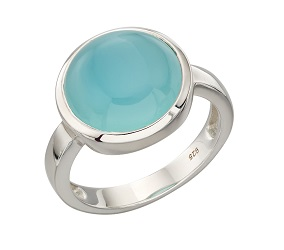 69434 - Blue Agate Cabouchon set Ring in SIlver