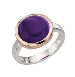 69435 - Purple Agate Cabouchon set Ring in Silver