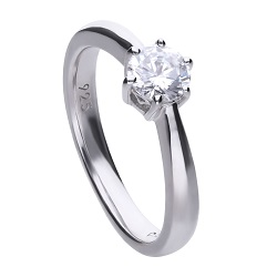 69491 - 0.75ct DiamondFire CZ Solitaire Ring in Silver