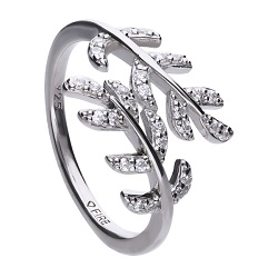 69606 - Pave leaf shape diamonfire CZ  Ring in Silver