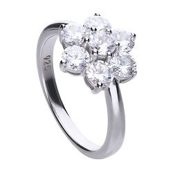 69607 - Flower shaped 7 stone diamonfire CZ cluster in silver