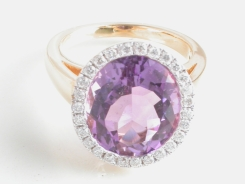 65731 - Amethyst & Diamond Cluster Ring in 18ct Gold
